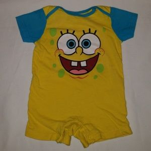 Spongebob Squarepants yellow & blue shorts onesie